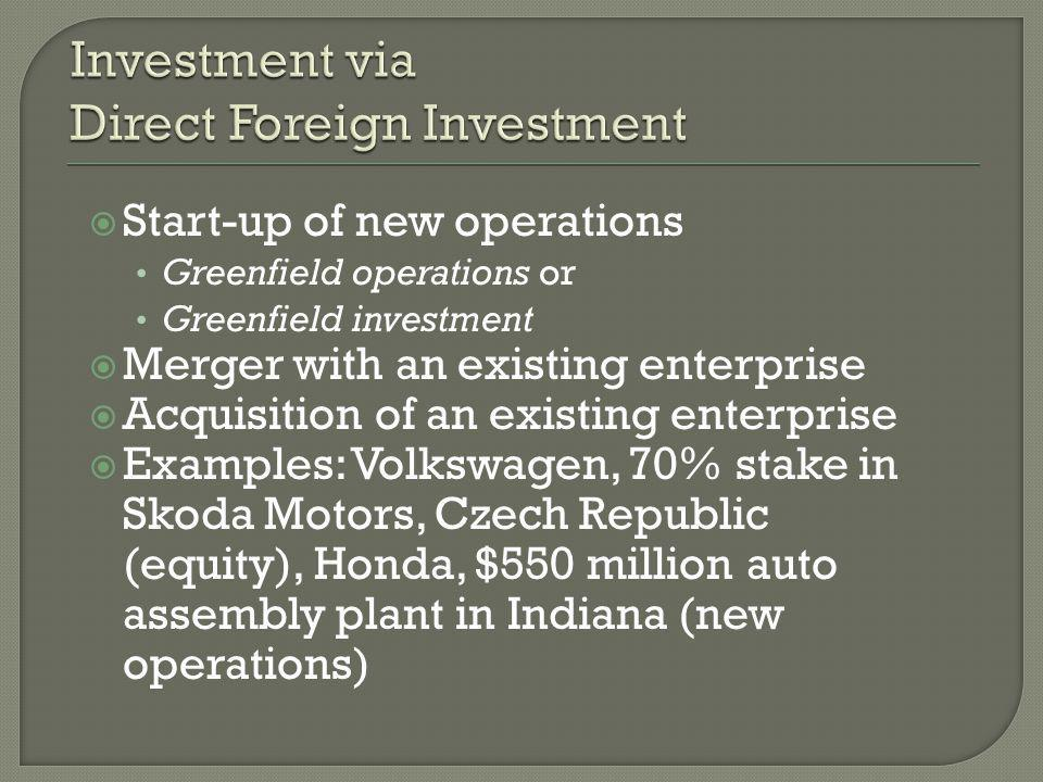  Start-up of new operations Greenfield operations or Greenfield investment  Merger with an existing enterprise  Acquisition of an existing enterprise  Examples: Volkswagen, 70% stake in Skoda Motors, Czech Republic (equity), Honda, $550 million auto assembly plant in Indiana (new operations)