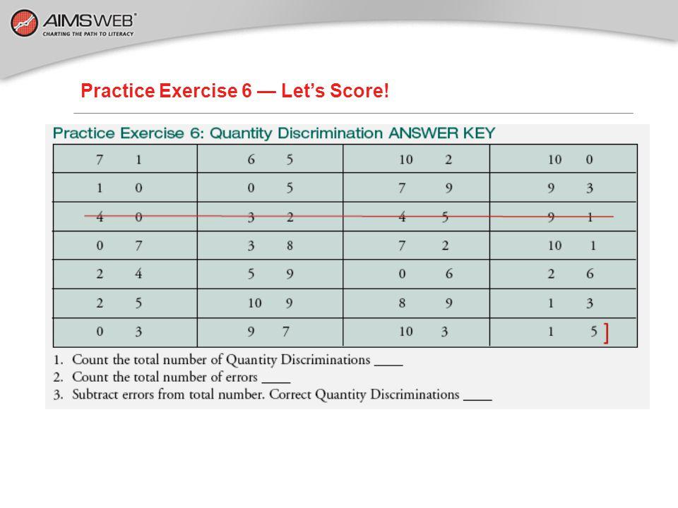 Practice Exercise 6 — Let's Score!