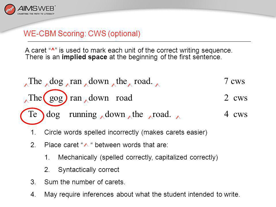 WE-CBM Scoring: CWS (optional) The dog ran down the road.