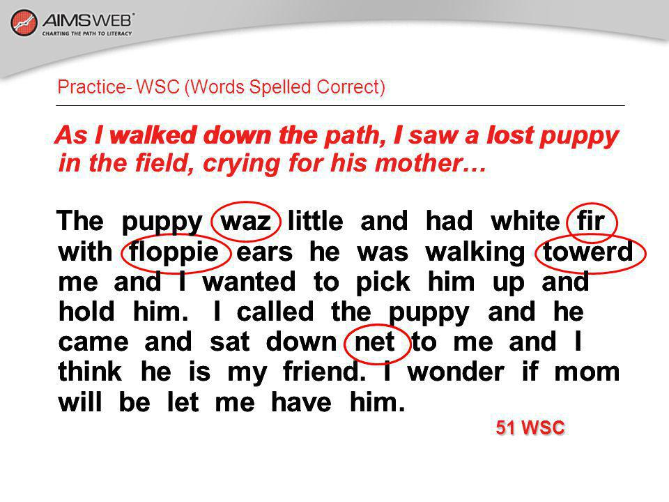 Practice- WSC (Words Spelled Correct) As I walked down the path, I saw a lost puppy in the field, crying for his mother… The puppy waz little and had
