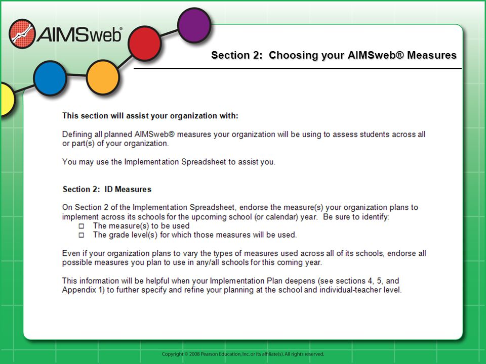 Section 2: Choosing your AIMSweb® Measures