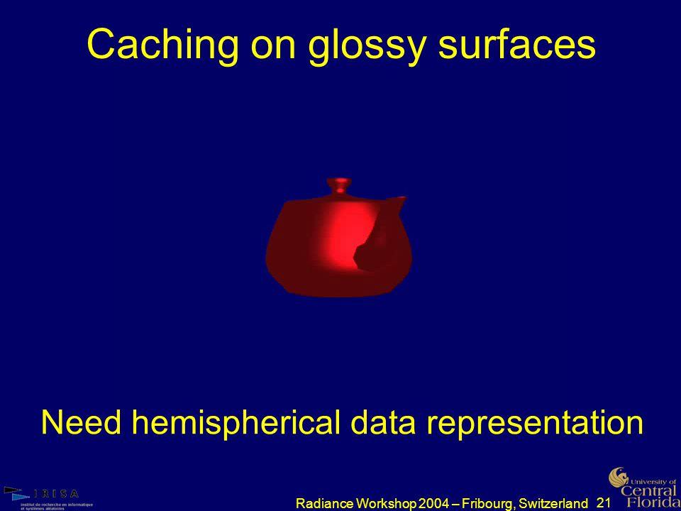 21 Radiance Workshop 2004 – Fribourg, Switzerland Caching on glossy surfaces Need hemispherical data representation