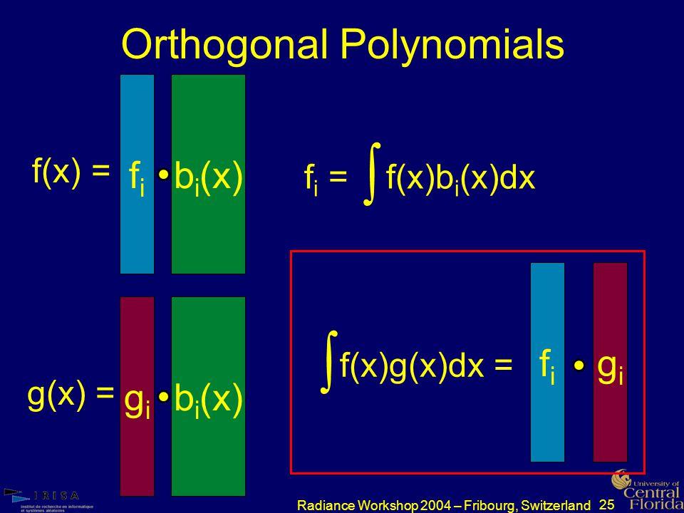 25 Radiance Workshop 2004 – Fribourg, Switzerland Orthogonal Polynomials f i = f(x)b i (x)dx  f(x) = fifi b i (x) g(x) = gigi b i (x)  f(x)g(x)dx = fifi gigi