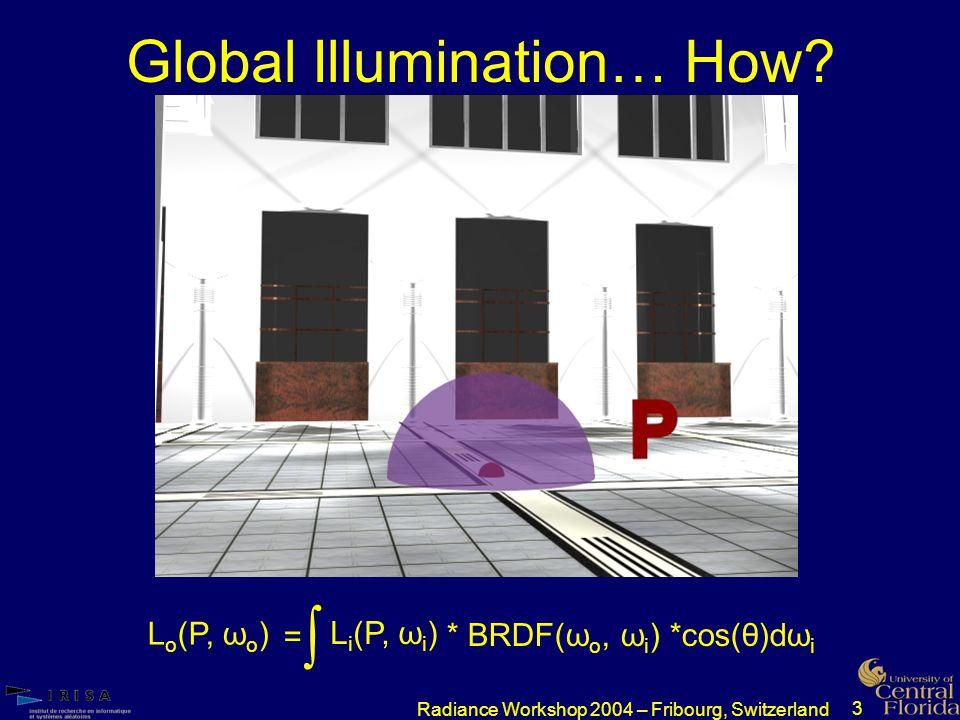 3 Radiance Workshop 2004 – Fribourg, Switzerland Global Illumination… How.