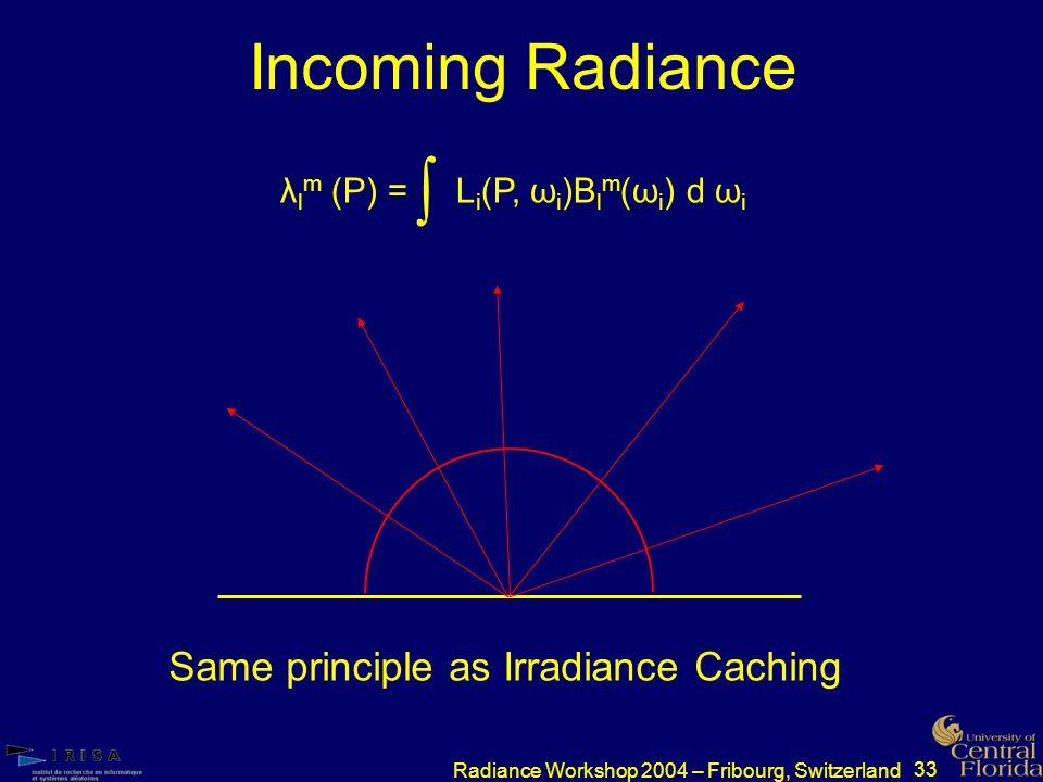 33 Radiance Workshop 2004 – Fribourg, Switzerland Incoming Radiance λ l m (P) = L i (P, ω i )B l m (ω i ) d ω i ∫ Same principle as Irradiance Caching