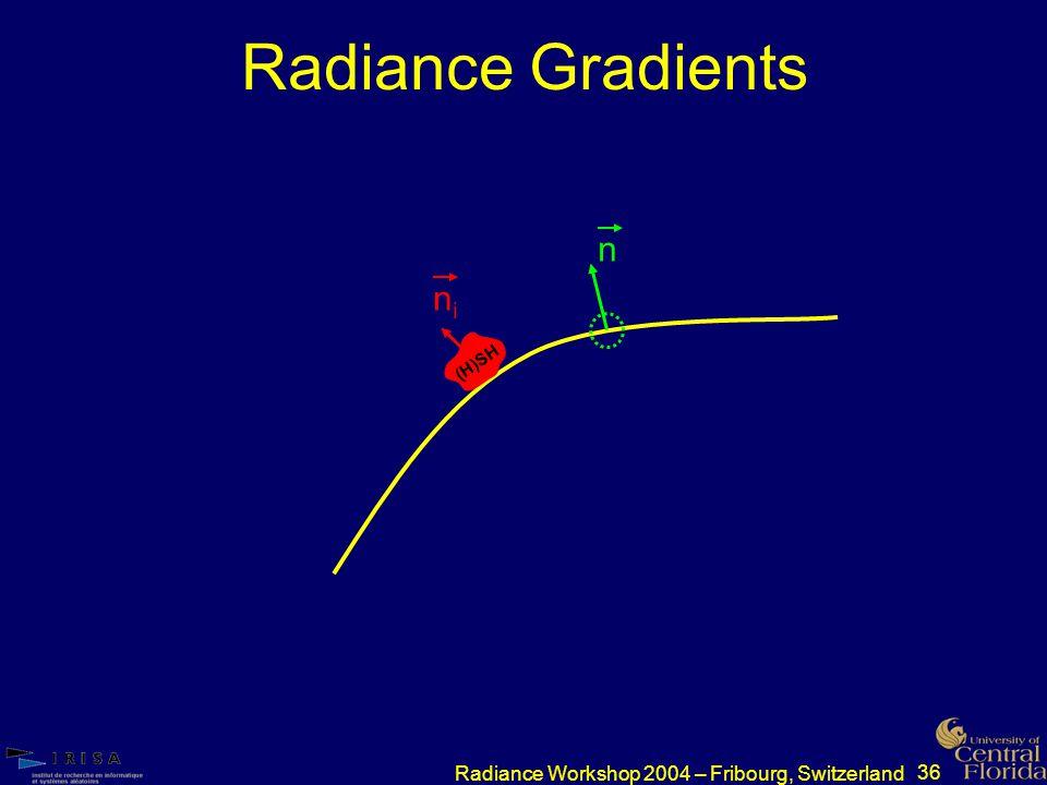 36 Radiance Workshop 2004 – Fribourg, Switzerland Radiance Gradients nini n (H)SH