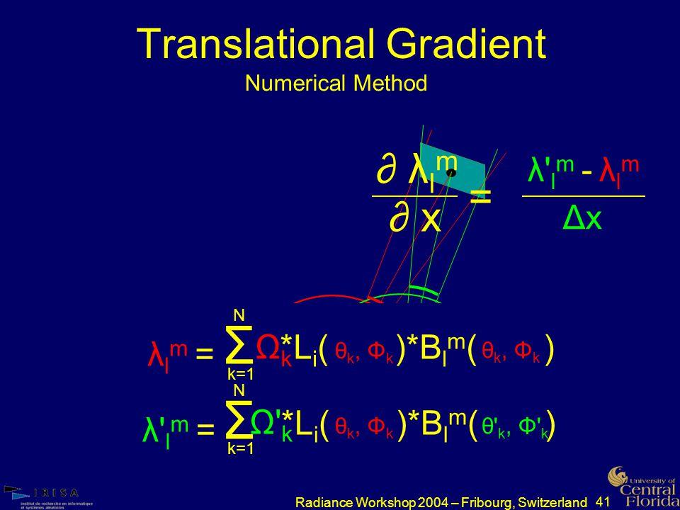 41 Radiance Workshop 2004 – Fribourg, Switzerland Translational Gradient Numerical Method p ΔxΔx p ∂ λ l m ∂ x = λ lm - λlmλ lm - λlm ΔxΔx λlm =λlm = *Li( )*B l m ( ) λ lm =λ lm = θ k, Φ k ΩkΩk Σ k=1 N λlm =λlm = λ lm =λ lm = *L i ( )*B l m ( ) Ω kΩ k Σ k=1 N θ k, Φ k θ k, Φ k