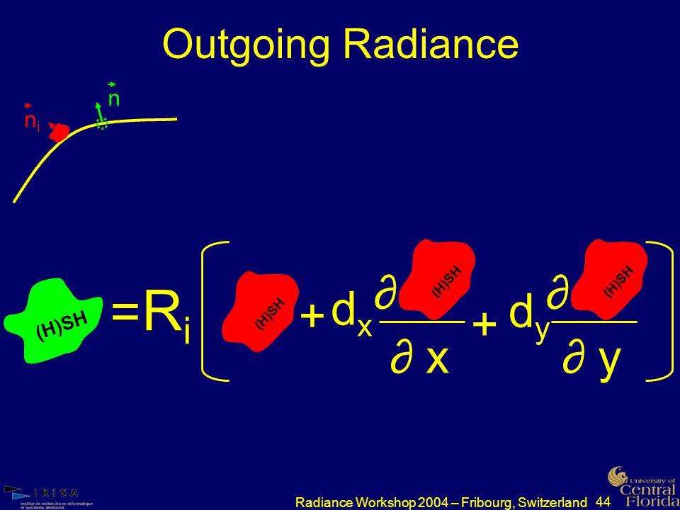 44 Radiance Workshop 2004 – Fribourg, Switzerland Outgoing Radiance nini n (H)SH RiRi = dxdx + ∂ ∂ x (H)SH + ∂ ∂ y (H)SH dydy