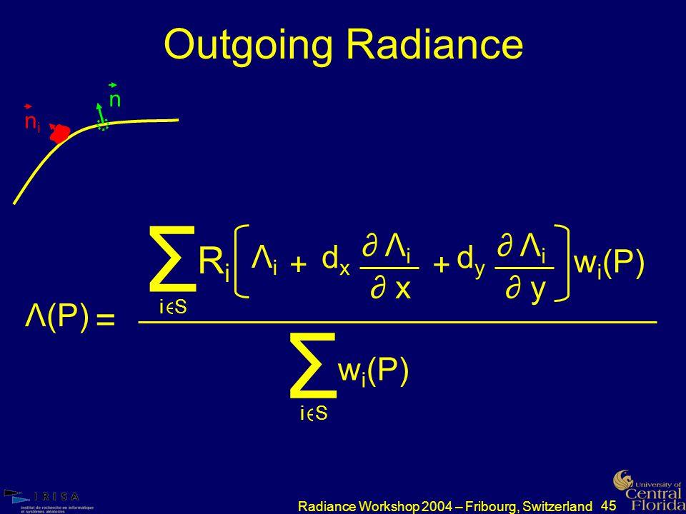 45 Radiance Workshop 2004 – Fribourg, Switzerland Outgoing Radiance nini n = Λ(P) RiRi dxdx + ∂ Λ i ∂ x Σ i S ΛiΛi dydy ∂ Λ i ∂ y + w i (P) Σ i S w i (P)