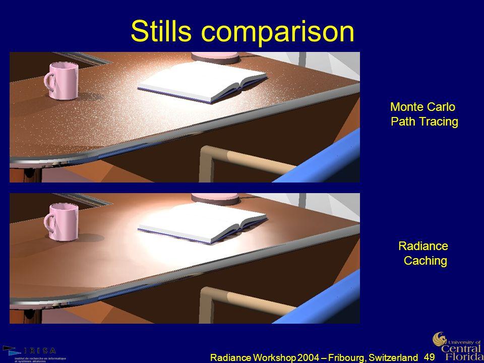 49 Radiance Workshop 2004 – Fribourg, Switzerland Stills comparison Monte Carlo Path Tracing Radiance Caching
