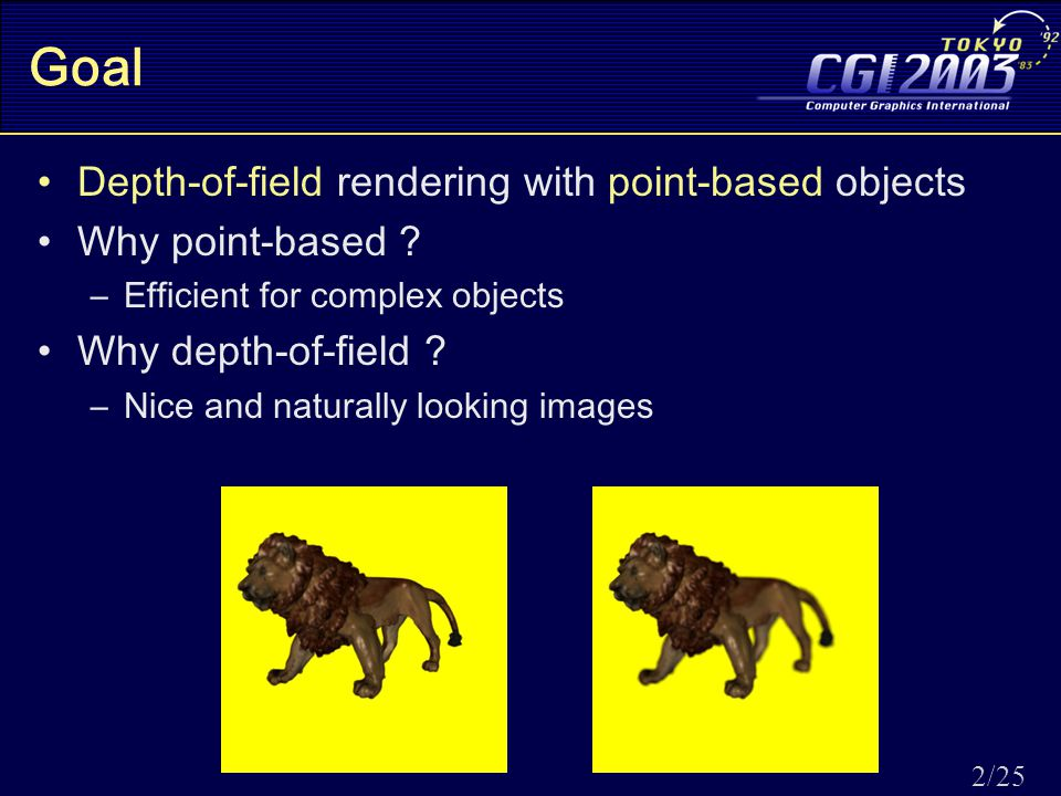 2/25 Goal Depth-of-field rendering with point-based objects Why point-based .