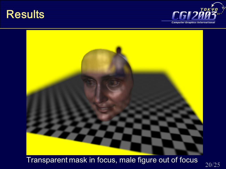 20/25 Results Transparent mask in focus, male figure out of focus