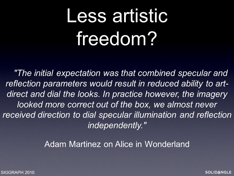 Less artistic freedom.