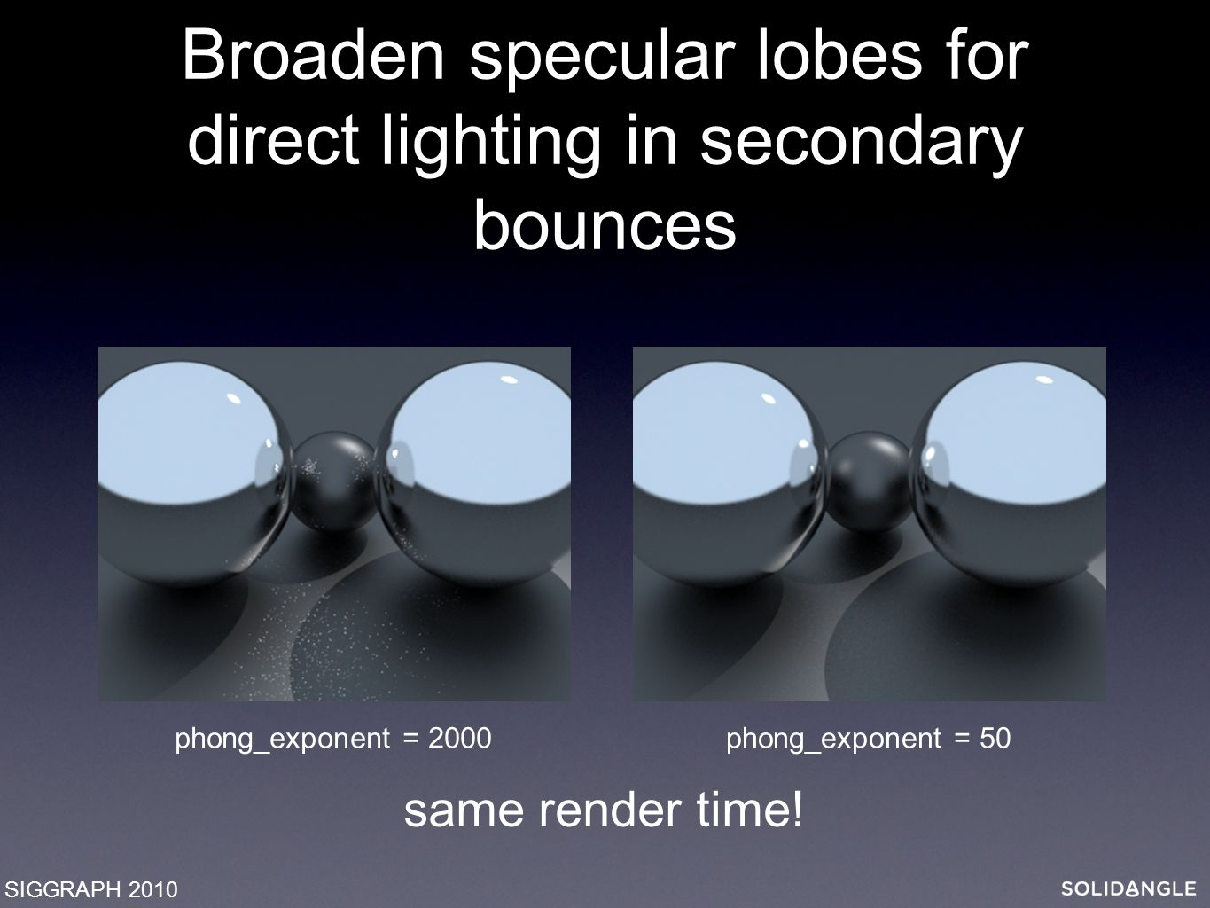 Broaden specular lobes for direct lighting in secondary bounces SIGGRAPH 2010 phong_exponent = 2000phong_exponent = 50 same render time!