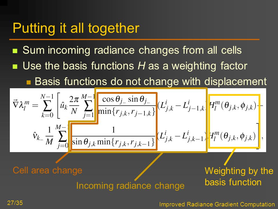 Improved Radiance Gradient Computation 27/35 Putting it all together Sum incoming radiance changes from all cells Use the basis functions H as a weighting factor Basis functions do not change with displacement Cell area change Incoming radiance change Weighting by the basis function