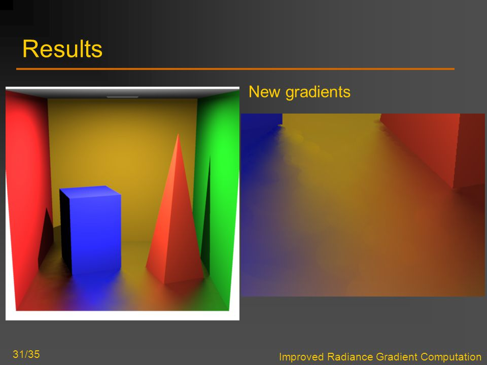 Improved Radiance Gradient Computation 31/35 Results New gradients