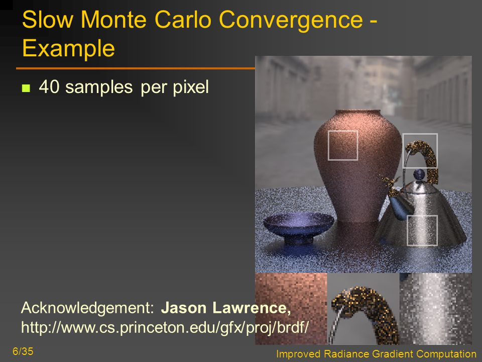 Improved Radiance Gradient Computation 6/35 Slow Monte Carlo Convergence - Example 40 samples per pixel Acknowledgement: Jason Lawrence, http://www.cs