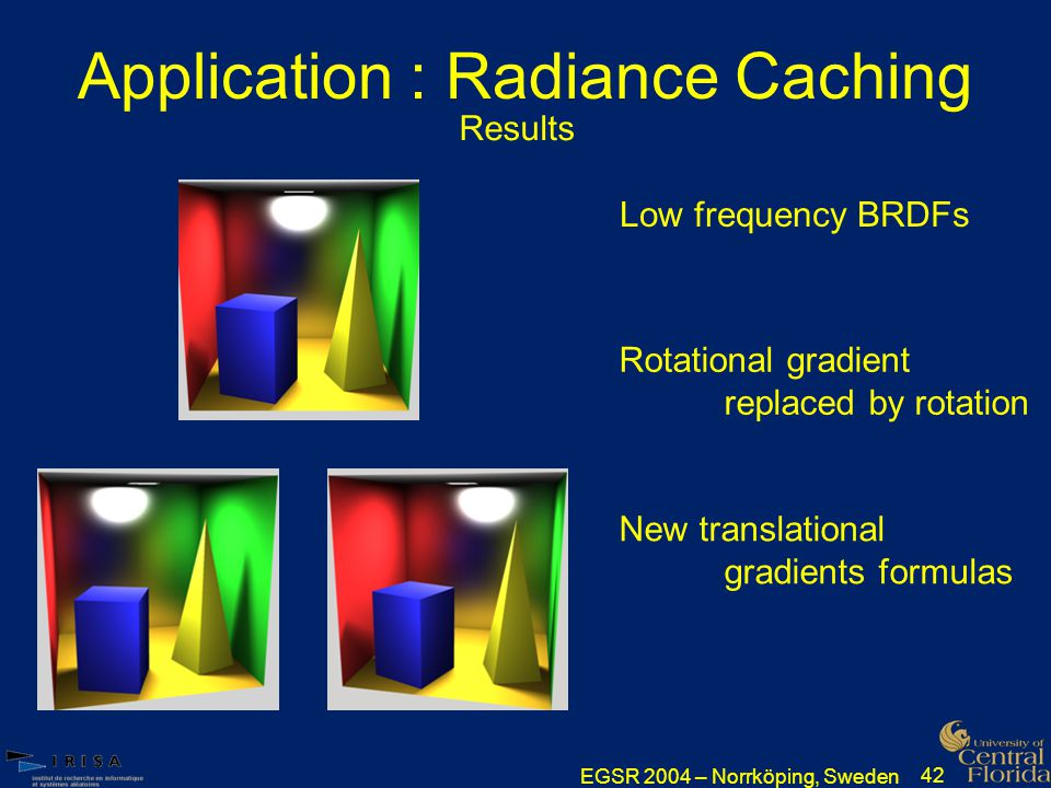EGSR 2004 – Norrköping, Sweden 42 Application : Radiance Caching Low frequency BRDFs New translational gradients formulas Rotational gradient replaced by rotation Results