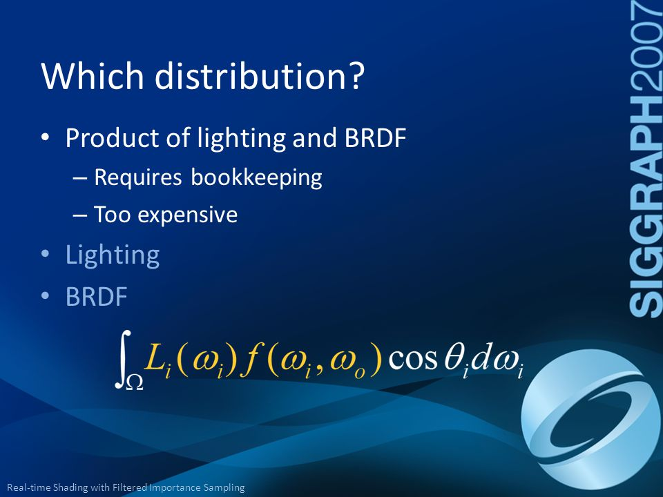 Real-time Shading with Filtered Importance Sampling Product of lighting and BRDF – Requires bookkeeping – Too expensive Lighting BRDF Which distributi