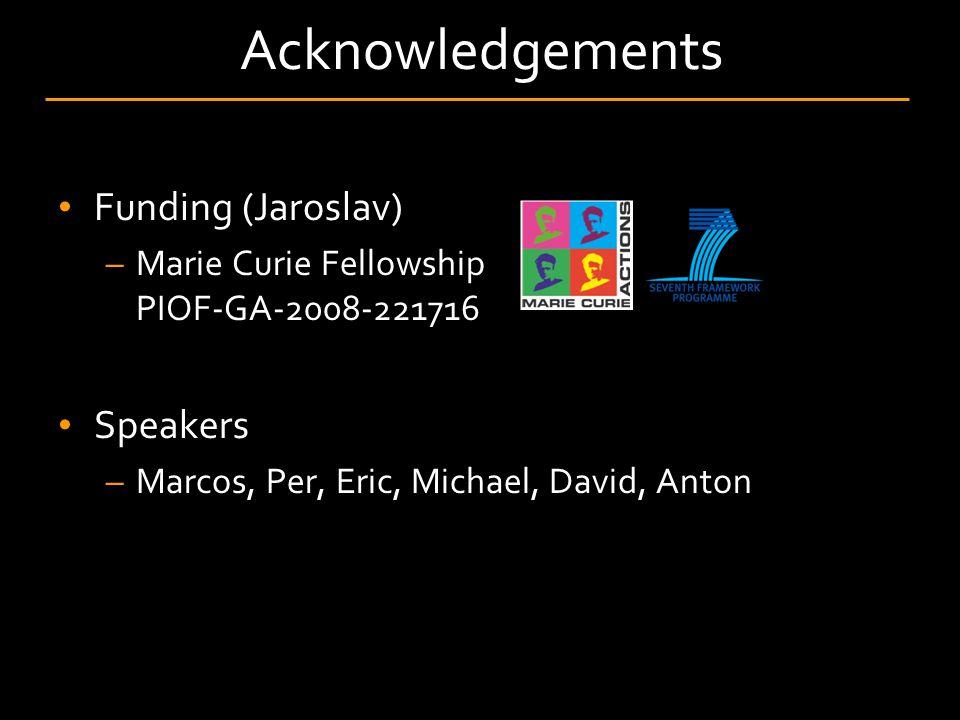 Acknowledgements Funding (Jaroslav) –Marie Curie Fellowship PIOF-GA-2008-221716 Speakers –Marcos, Per, Eric, Michael, David, Anton