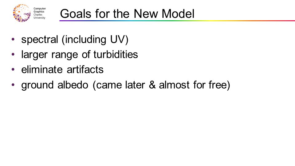 spectral (including UV) larger range of turbidities eliminate artifacts ground albedo (came later & almost for free) Goals for the New Model