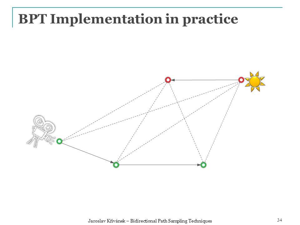 BPT Implementation in practice 34 Jaroslav Křivánek – Bidirectional Path Sampling Techniques