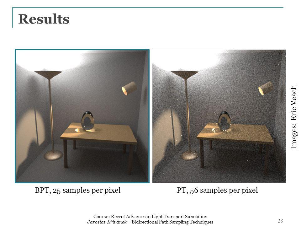 Results BPT, 25 samples per pixelPT, 56 samples per pixel Images: Eric Veach 36 Course: Recent Advances in Light Transport Simulation Jaroslav Křivánek – Bidirectional Path Sampling Techniques