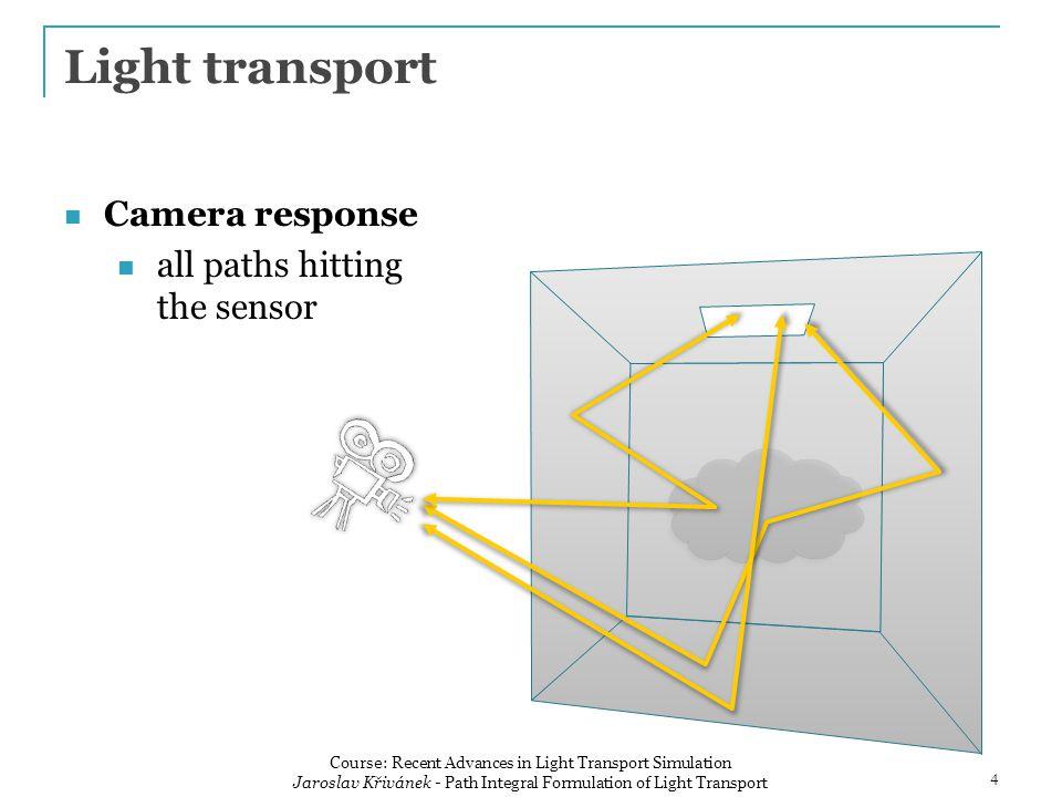 Camera response all paths hitting the sensor Light transport 4 Course: Recent Advances in Light Transport Simulation Jaroslav Křivánek - Path Integral Formulation of Light Transport