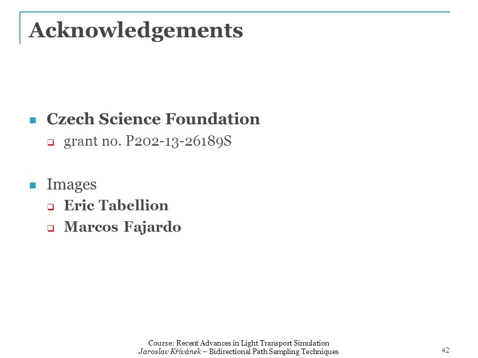 Acknowledgements Czech Science Foundation  grant no.