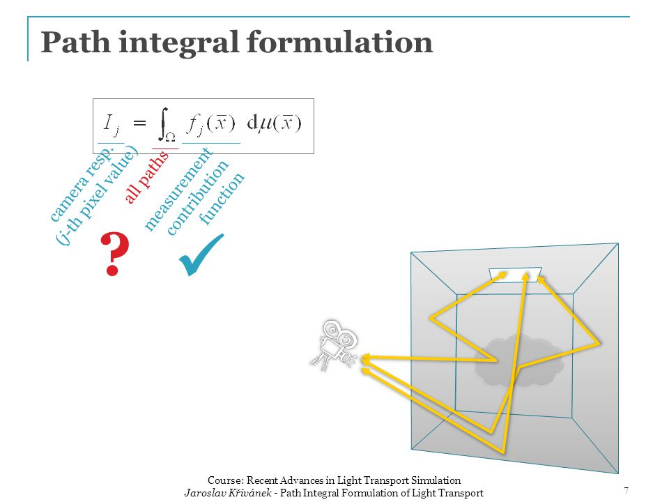 Path integral formulation all path lengths all possible vertex positions 8 Course: Recent Advances in Light Transport Simulation Jaroslav Křivánek - Path Integral Formulation of Light Transport