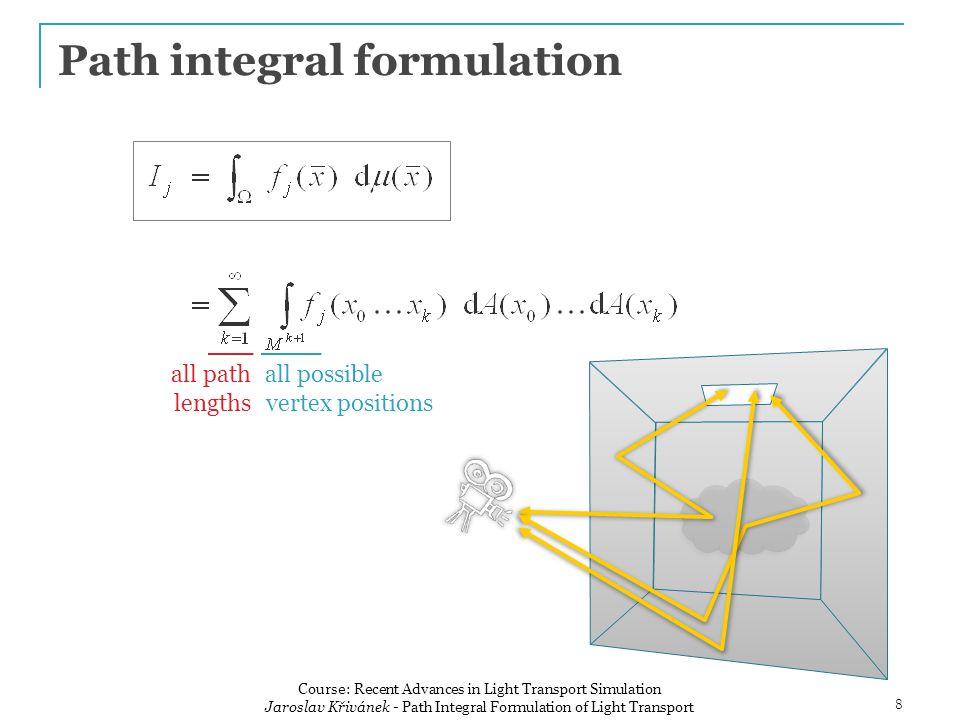 Path integral pixel value all paths contribution function 9 Course: Recent Advances in Light Transport Simulation Jaroslav Křivánek - Path Integral Formulation of Light Transport