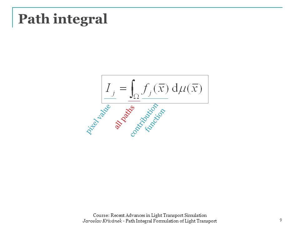 Use of local path sampling Path tracingLight tracing Bidirectional path tracing 20 Course: Recent Advances in Light Transport Simulation Jaroslav Křivánek - Path Integral Formulation of Light Transport