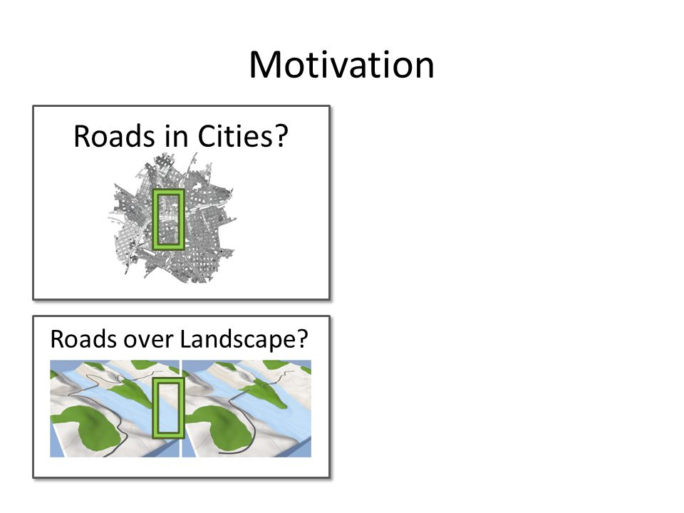 Motivation Roads in Cities? Roads over Landscape?