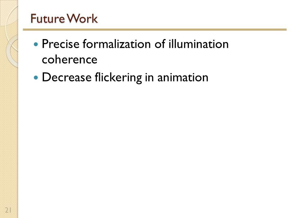 Future Work Precise formalization of illumination coherence Decrease flickering in animation 21