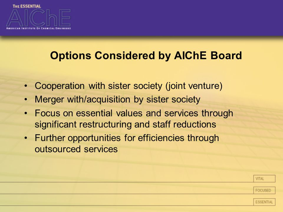Options Considered by AIChE Board Cooperation with sister society (joint venture) Merger with/acquisition by sister society Focus on essential values and services through significant restructuring and staff reductions Further opportunities for efficiencies through outsourced services