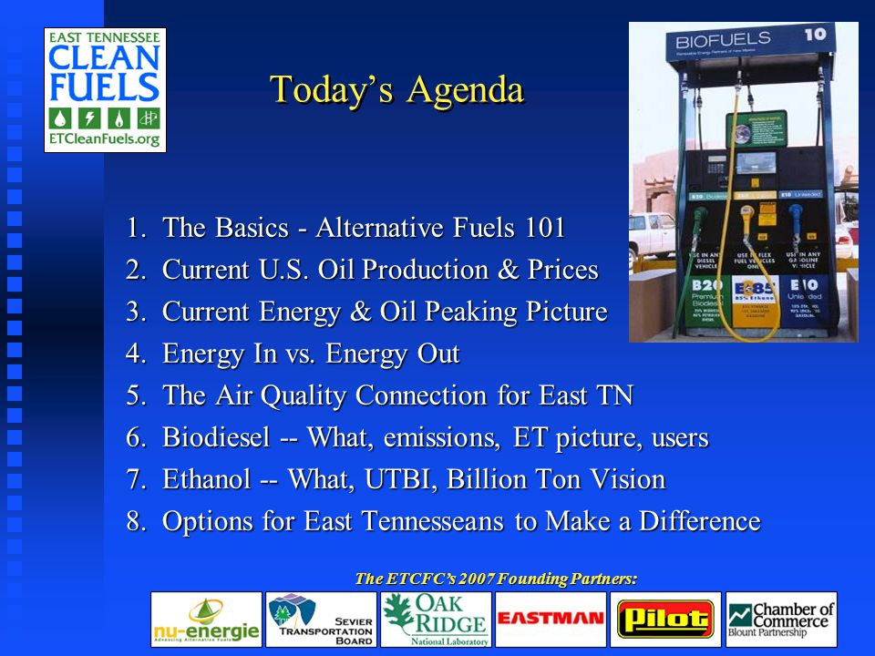 Today's Agenda 1. The Basics - Alternative Fuels 101 2.
