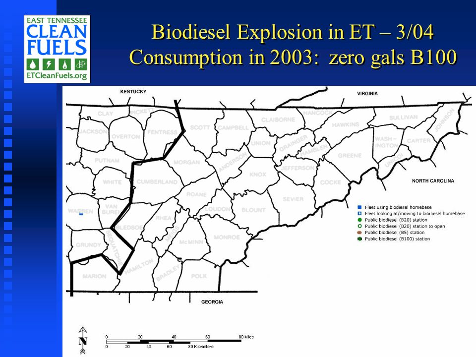 Biodiesel Explosion in ET – 3/04 Consumption in 2003: zero gals B100