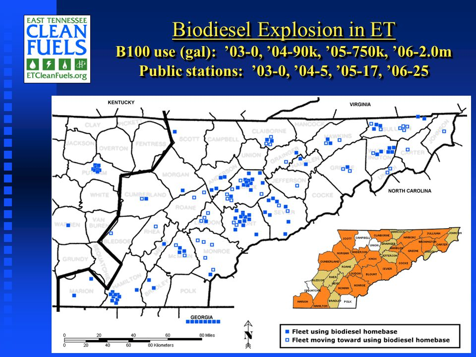 Biodiesel Explosion in ET B100 use (gal): '03-0, '04-90k, '05-750k, '06-2.0m Public stations: '03-0, '04-5, '05-17, '06-25
