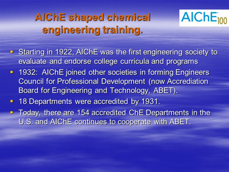 AIChE shaped chemical engineering training.
