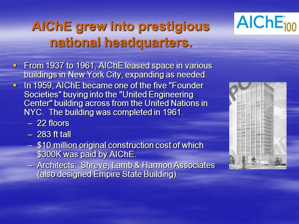 AIChE grew into prestigious national headquarters.