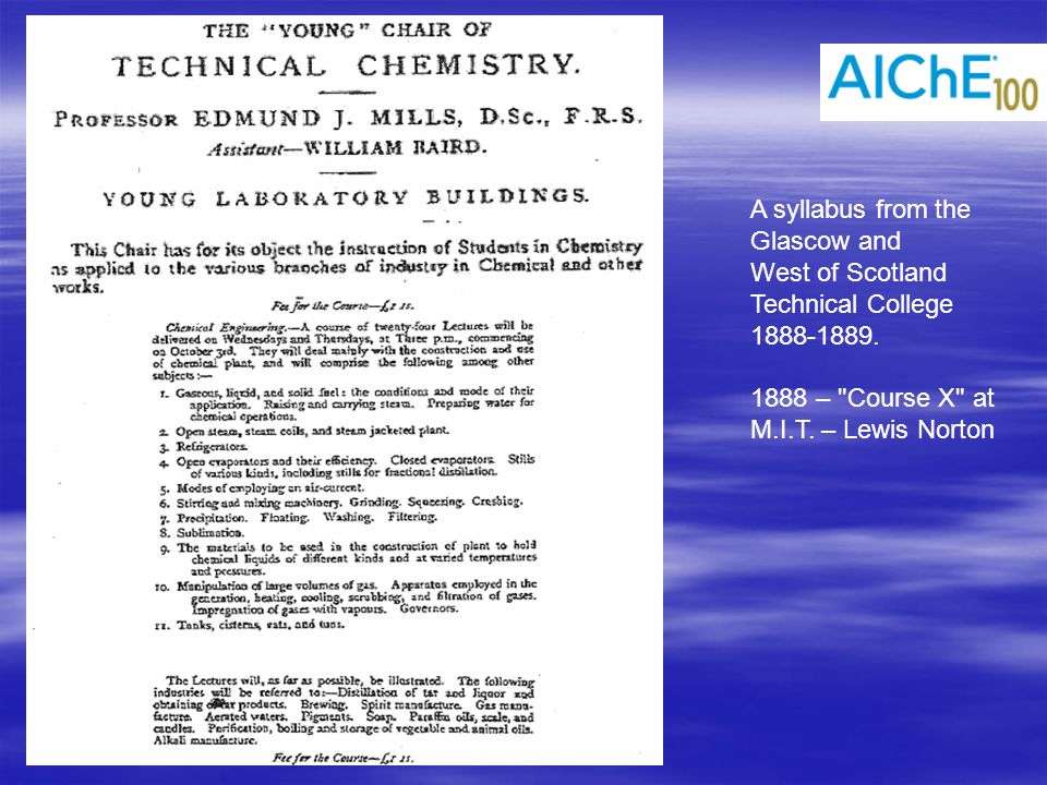 Other Disciplines Predated Chemical Engineering  American Chemical Society (1876) members generally thought that chemists could cover manufacturing –Applied chemistry –Industrial chemistry  Plus Mechanical Engineering (ASME, 1880)  Plus Electrical Engineering (AIEE, 1884)  Plus Civil Engineering (ASCE, 1852)  Plus Mining / Metallurgical Eng.