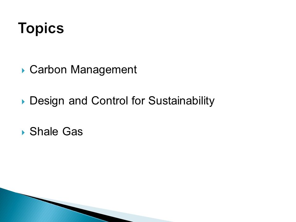  Carbon Management  Design and Control for Sustainability  Shale Gas