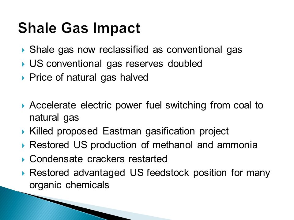  Shale gas now reclassified as conventional gas  US conventional gas reserves doubled  Price of natural gas halved  Accelerate electric power fuel