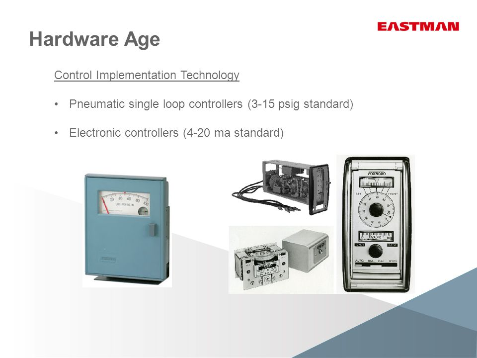 Control Implementation Technology Pneumatic single loop controllers (3-15 psig standard) Electronic controllers (4-20 ma standard)