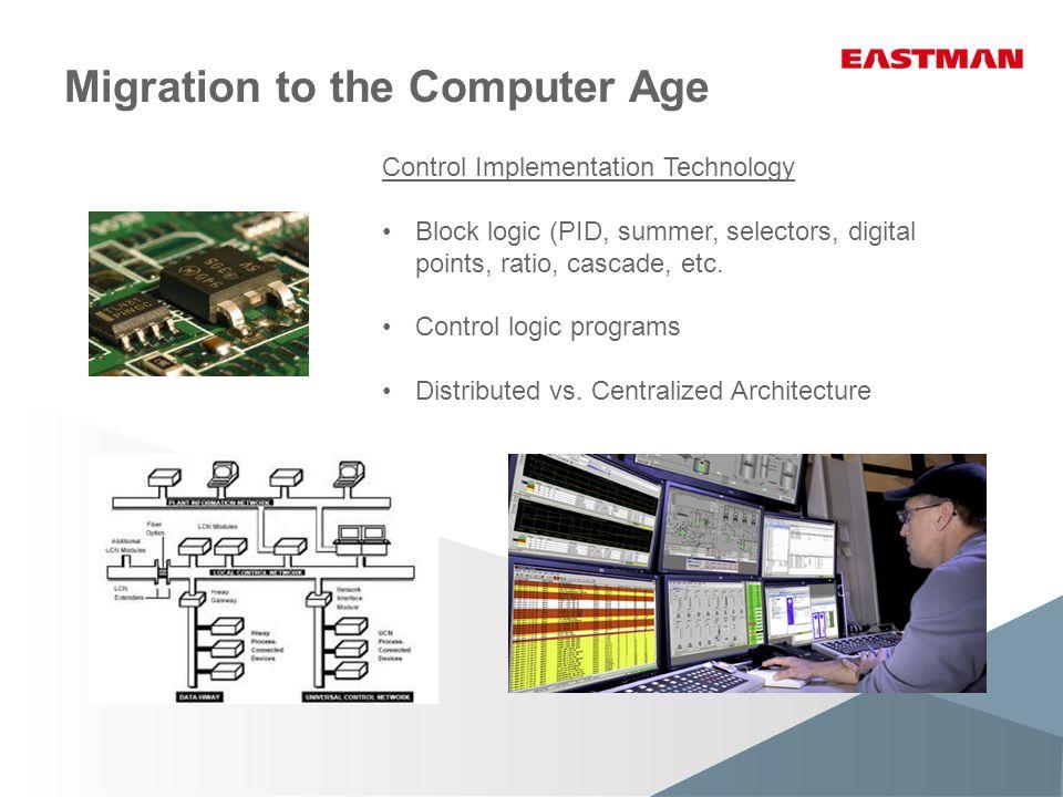 Migration to the Computer Age Control Implementation Technology Block logic (PID, summer, selectors, digital points, ratio, cascade, etc.