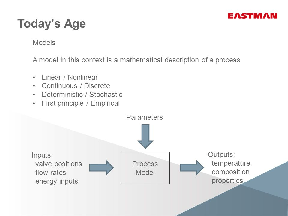 Today s Age Models A model in this context is a mathematical description of a process Linear / Nonlinear Continuous / Discrete Deterministic / Stochastic First principle / Empirical Process Model Inputs: valve positions flow rates energy inputs Outputs: temperature composition properties Parameters