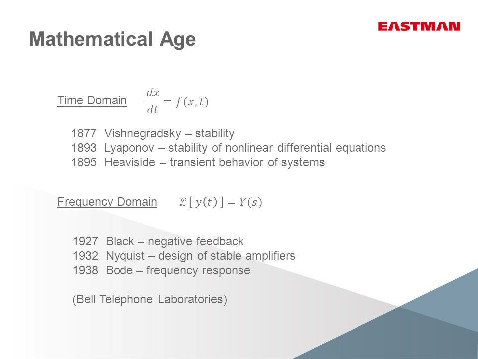 Mathematical Age 1877 Vishnegradsky – stability 1893 Lyaponov – stability of nonlinear differential equations 1895 Heaviside – transient behavior of systems 1927 Black – negative feedback 1932 Nyquist – design of stable amplifiers 1938 Bode – frequency response (Bell Telephone Laboratories) Time Domain Frequency Domain