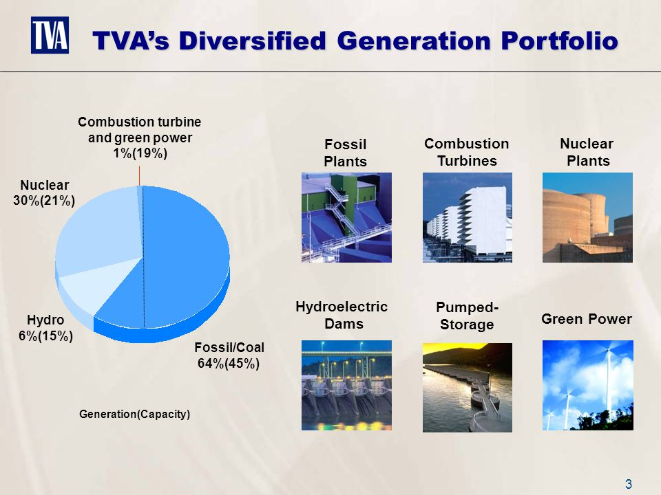 3 Fossil Plants Combustion Turbines Nuclear Plants Hydroelectric Dams Pumped- Storage Green Power Fossil/Coal 64%(45%) Hydro 6%(15%) Nuclear 30%(21%) Combustion turbine and green power 1%(19%) TVA's Diversified Generation Portfolio Generation(Capacity)