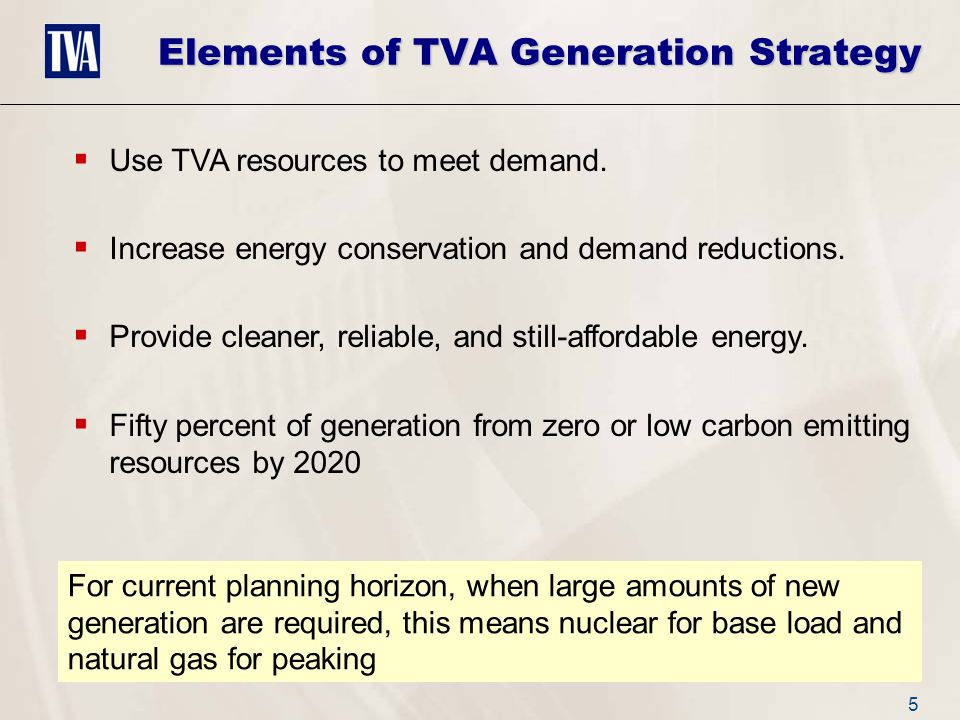 5  Use TVA resources to meet demand.  Increase energy conservation and demand reductions.
