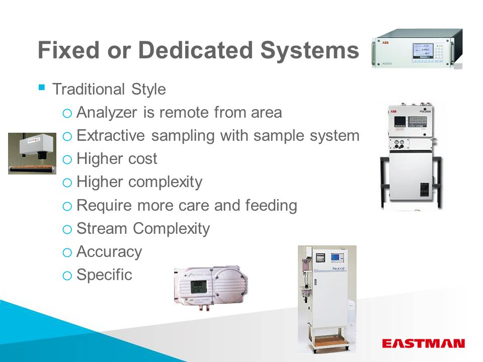 Fixed or Dedicated Systems  Traditional Style o Analyzer is remote from area o Extractive sampling with sample system o Higher cost o Higher complexity o Require more care and feeding o Stream Complexity o Accuracy o Specific